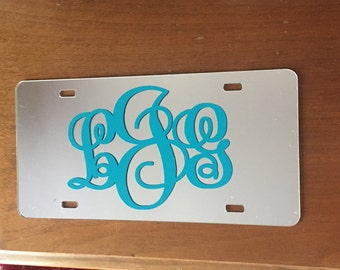 Monogram car tag. Personalized white or black metal tag with initials.