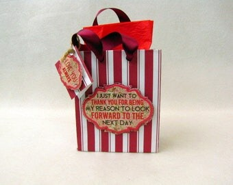 Gift Bag ~ Gift Tag ~ Love You Always ~ Red Striped ~ Steampunk ~ Thank You ~ Small Jewelry Bag ~ Jewelry and Box Not Included