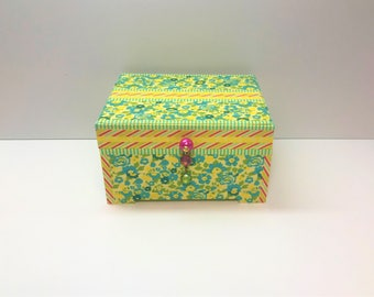 Girl's Jewelry Box, Pink Yellow Blue Jewelry Box, Jewelry Box, Teen Jewelry Box, Girl's Pink Jewelry Box, Yellow Blue Pink Decor Box