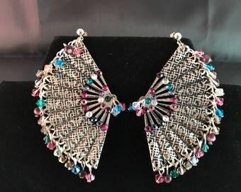 Pink, Purple and Teal Large Fan Earrings
