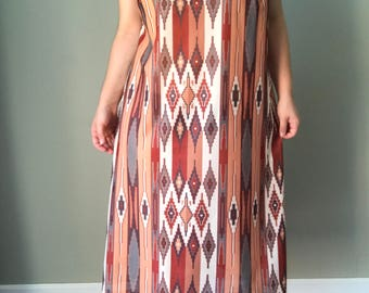 1990s Native Print Midi Dress