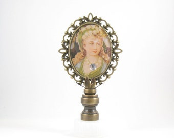 Lamp Finial Victorian Lady Antiqued Brass Fancy Frame Exclusive LampFinials.com Design Lampshade Finial AE7