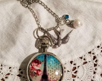 Eiffel Tower Pocket Watch Necklace, Clock necklace, Working Watch Necklace, Bird, Blue Rhinestone, Pearl, Long Necklace, Silver, MarjorieMae