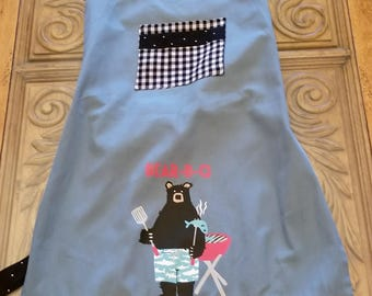 Bear-B-Q Tea Towel Apron, Adjustable Neck Apron, Bear Apron, BBQ Apron, Black & White, Blue, Red, Ready to Ship, MarjorieMae