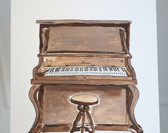 """Original """"This Old Piano Still Sings"""" Watercolor 