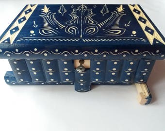 New big huge blue wooden puzzle box secret treasure adventure mystery magic box jewelry storage wooden case hidden chest drawer box gift toy