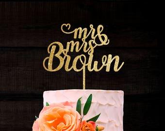 Customized Wedding Cake Topper, Personalized Cake Topper for Wedding, Custom Personalized Wedding Cake Topper, Last Name Cake Topper # 43