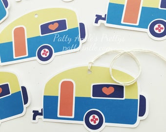 Camper Gift Tags, Party Gift Tags, Glamping Gift Tags, Camping Gift Tags, Happy Birthday Gift Tag