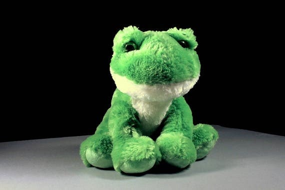 Frog Stuffed Animal, Aurora, Fluffy, Soft, Green and White, Sitting Frog