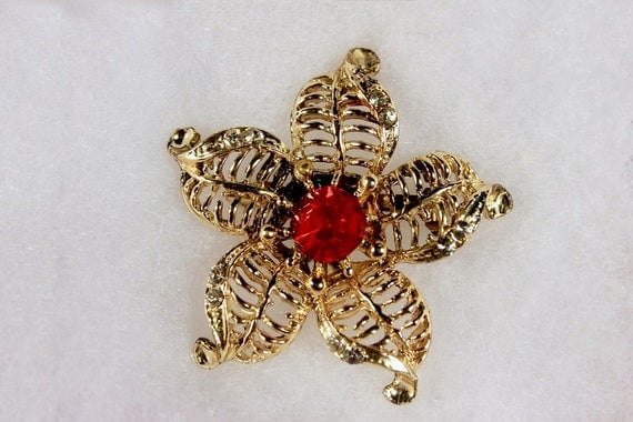 Flower Brooch, Red Rhinestone, Gold Tone, Locking C Clasp, Fashion Pin, Costume Jewelry, Collectible