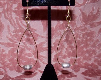 Grey Pearl Tear Drop Earrings