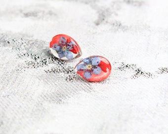 red blue studs red earrings teardrop studs forget me not flower studs earrings kids boho studs daughter gifts summer earrings trend кю28