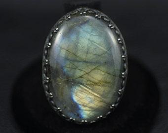 Labradorite and Sterling Silver Ring US Size 7.5
