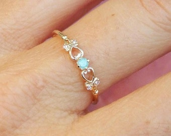 Gold Ring, CZ Ring, Cubic Zirconia Ring, Stone Ring, Heart Ring, Stacking Ring, Gold Plated Ring