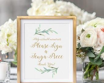 "Sign a Jenga Piece Guest Book Wedding Sign Printable Help us build memories, sign a Jenga piece, Wedding Signage, 8x10"" download and print"