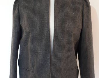 Vintage jacket wool mix grey pinstripe collarless jacket English Made by Brenson size medium