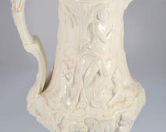 "Charles Meigh Relief Molded Mythological Stoneware Salt Glaze Pitcher 10"" Tall"