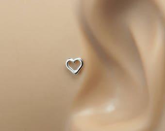 Heart Tragus Earring - 16g Tragus Piercing - Tragus Backing - Heart Helix Stud - Helix Earring - Helix 16 Gauge Stud - Gold Helix Piercing