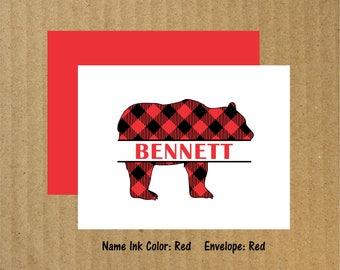 Buffalo Bear Note Cards, Set of 10, Bear Thank You Cards, Woodland, Thank You Cards, Buffalo Plaid, Buffalo Plaid Bear, Lodge Note Cards