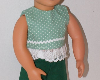 "Shorts & Top for 18"" Dolls. Made in USA fits American Girl, Our Generation Dolls"