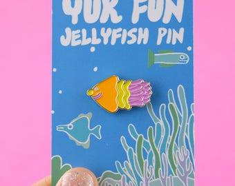 Cute Jellyfish Pin, Kawaii Jellyfish Enamel Pin, Sealife Pin, tropical enamel pin, Jellyfish badge, Jellyfish brooch, jellyfish pin badge