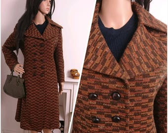 Vintage 60s 70s Brown Orange Textured Double Breasted Wool A line Coat / UK 14 16 / EU 42 44