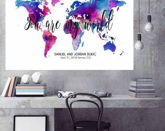 World Map Wedding guest book Canvas Print Custom World Map gift Personalised wedding gifts