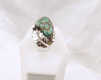 "Hand Signed ""T.Y"". Vintage Large Natural Green Turquoise Sterling Silver Southwest Native American Navajo Ring  #TY-SR5"