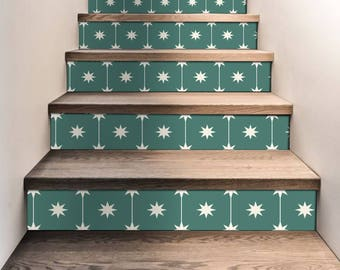 "Stair Riser Stickers - Removable Stair Riser Tile Decals - Starry Night Pack of 6 in Green - Peel & Stick Stair Riser Deco Strips - 48"" long"