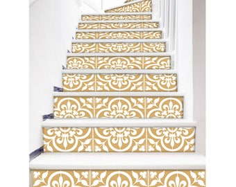 "Stair Riser Stickers - Removable Stair Riser Vinyl Decals - Corona Pack of 6 in Gold - Peel & Stick Stair Riser Deco Strips - 48"" long"