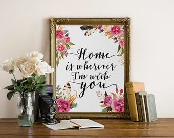 Home is wherever im with you, typography print, printable quote, home sweet home, black and white print typographic print
