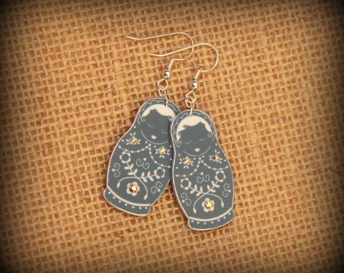 Russian earrings - Russian jewelry - Nesting Dolls - Nesting doll earrings - Matryoshka dolls - Babushka dolls - Dusty blue - Shrink plastic