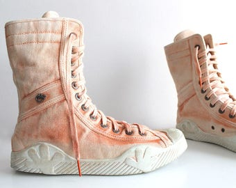 Vtg GOA Massive Boots/Salmon Hi Top Rave Sneakers/ClubKid Clubbing Party Trainers/Music Festival Cotton Alternative Ninja Boots eu40 usa9