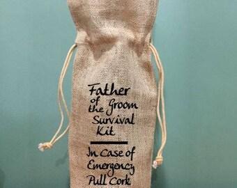 burlap wine bag, Burlap gift bag, wedding back, father of the groom, wedding gift