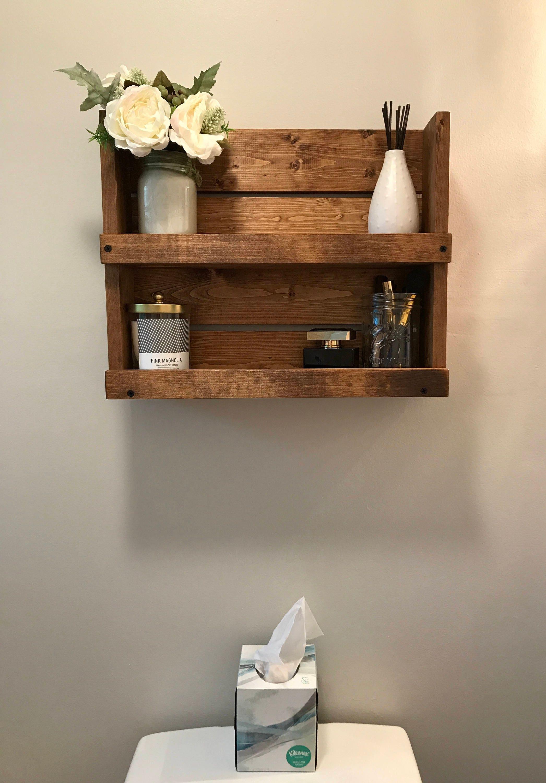 Bathroom Shelf Rustic Organizer Wood Bathroom Storage