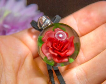 Glass Marble Pendant - Lampwork Marble Jewelry - Marble Necklace - Glass Flower Marble - Blown Glass Flower Marble - Red Flower Marble