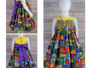 Back to School Dress, First Day of School Dress, Girls, Back to School Outfit, First Day of School Outfit, ABC, Pencil, Kindergarten Clothes