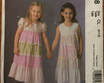 McCalls M4758 - Little Girl's Ruffles and Lace Summer Dress with Contrast Tiers - Size 6 7 8