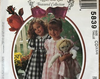 McCalls 5839 - Ruffles and Lace Little Girl's Raised Waist and Pantaloons with Matching Doll Dress - Size 2 3 4