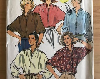 Butterick 6252 - 1980s Button Front Blouse with Dolman Sleeves with Band Collar - Size 14 Bust 36