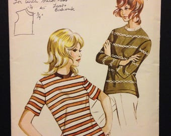 Kwik Sew 305 1960s or 70s Ladies Stretch Knit Casual Shirt with Ribbed Collar - Size S M L XL