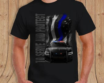 The thin Blue Line American Flag thin blue line POLICE Shirt Black- t-Shirt Mens / womens/youth