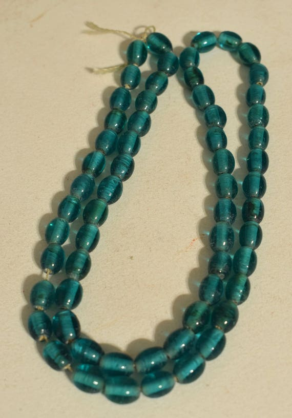 Beads Turquoise Blue Oval Glass Jewelry Necklaces India Glass Beads 10mm