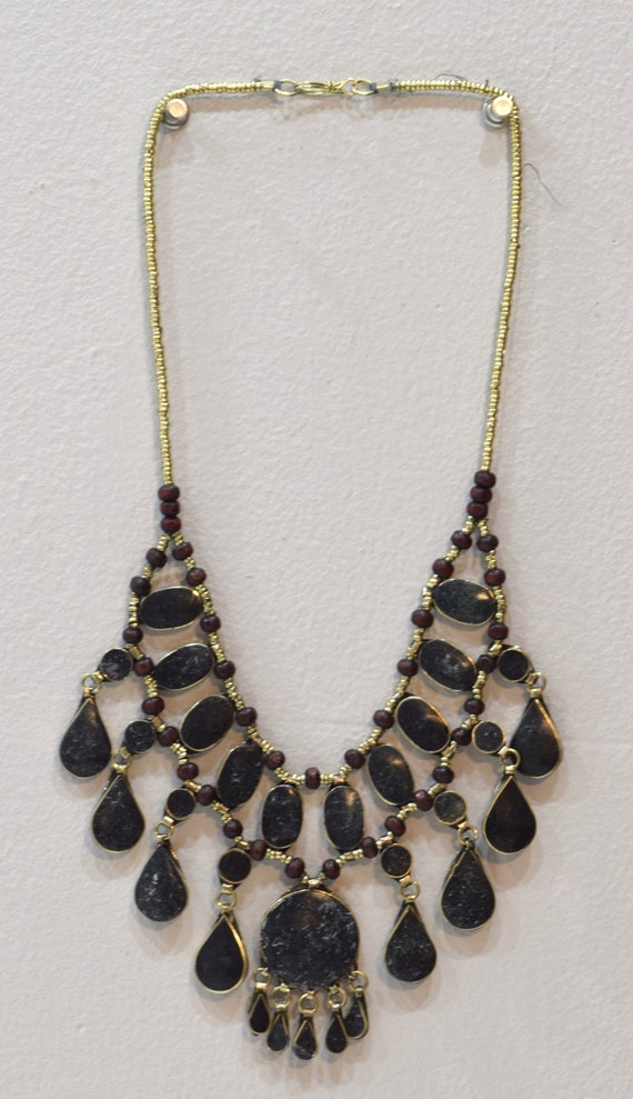 """Necklace Middle East Black Stone Silver Tribal Necklace 28"""""""