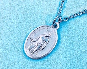 Cancer necklace etsy patron st of cancer st peregrine necklace st peregrine medal healing necklace cancer necklace stainless steel mozeypictures Image collections