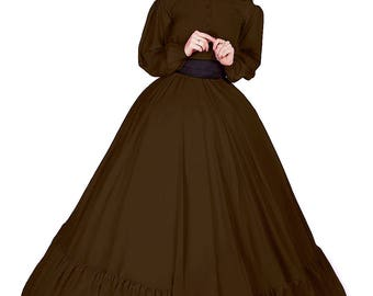I-D-D Civil War Reenactment Victorian Garibaldi Truffle 3 Piece Dress L/XL