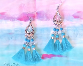 Three Tassel Earrings Turquoise