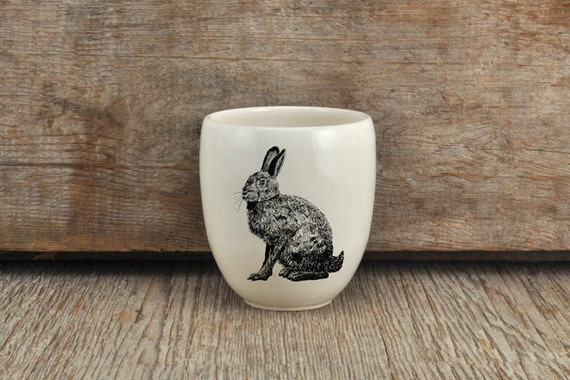 Handmade Porcelain coffee tumbler with hare drawing Canadian Wildlife collection