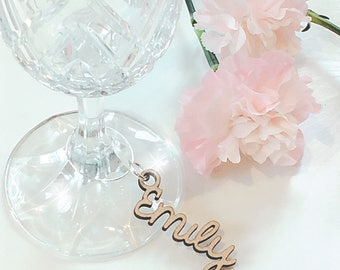 Wooden Wedding Place Name Keyring, Wooden Wine Glass Charm, Wedding Place Setting, Name Place Setting, Wedding Place Cards