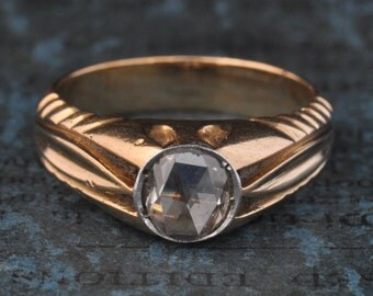 Antique Diamond Engagement Ring-Rose Cut Diamond Engagement